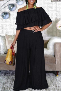 Black Fashion Casual Solid Split Joint Off the Shoulder Half Sleeve Two Pieces