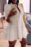 Black Fashion Casual Solid Turndown Collar Shirt Dress