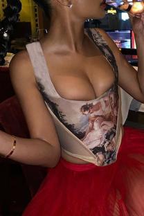 Khaki Sexy Print Split Joint Square Collar Tops