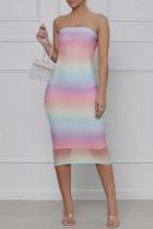 Multicolor Fashion Sexy Gradual Change Print Backless Strapless Sleeveless Dress