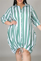 Green Fashion Casual Plus Size Striped Print Basic Turndown Collar Shirt Dress