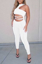 White Sexy Solid Split Joint Halter Skinny Jumpsuits