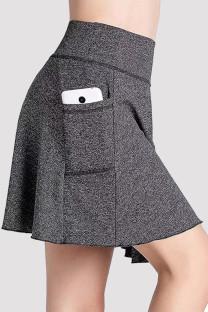 Grey Fashion Casual Solid Split Joint Pocket Regular High Waist Skirt