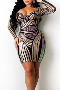 Black Sexy Print Split Joint Square Collar Pencil Skirt Dresses