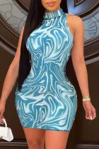 Sky Blue Sexy Print Mesh Half A Turtleneck Pencil Skirt Dresses