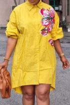 Yellow Casual Print Turndown Collar Shirt Dress Plus Size Dresses
