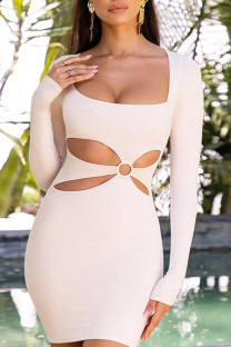Apricot Sexy Solid Hollowed Out Split Joint U Neck Pencil Skirt Dresses