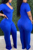 Blue Fashion Casual Solid Basic V Neck Skinny Jumpsuits