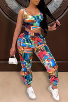 Multicolor Fashion Casual Print Vests Pants U Neck Sleeveless Two Pieces