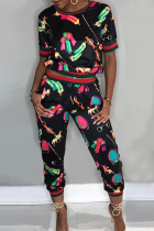 Black Casual Print Split Joint O Neck Short Sleeve Two Pieces