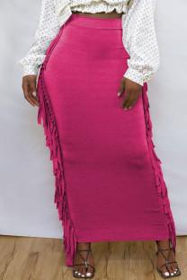 Rose Red Fashion Casual Solid Tassel Regular High Waist Skirt