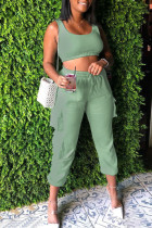 Green Casual Solid Split Joint Spaghetti Strap Sleeveless Two Pieces