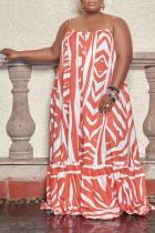 Tangerine Red Casual Print Split Joint Spaghetti Strap Cake Skirt Plus Size Dresses