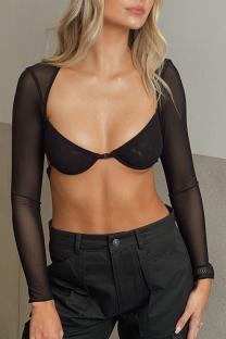 Black Sexy Print Split Joint Square Collar Tops