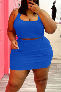 Blue Casual Solid Split Joint U Neck Straight Plus Size Two Pieces
