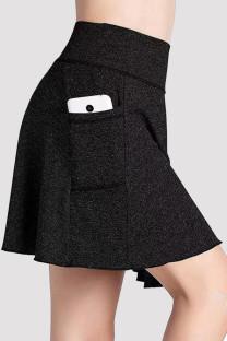 Black Fashion Casual Solid Split Joint Pocket Regular High Waist Skirt