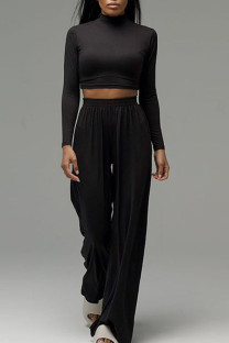 Black Casual Solid Split Joint Half A Turtleneck Long Sleeve Two Pieces