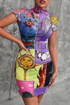Purple Fashion Casual Print Basic Turtleneck Short Sleeve Dress
