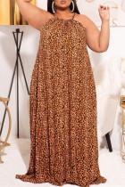 Leopard Print Fashion Plus Size Print Leopard Backless Halter Sleeveless Dress (Without Belt)