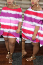 Pink Sexy Patchwork Print asymmetrical Straight Long Sleeve Two Pieces