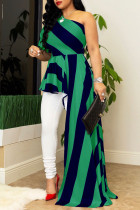 Green Street Striped Print Split Joint Asymmetrical Oblique Collar Irregular Dress Dresses