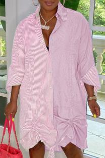 Pink Casual Striped Split Joint Turndown Collar Shirt Dress Dresses