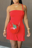 Rose Red Sexy Solid Split Joint Strapless A Line Dresses