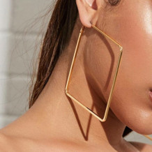 Gold Fashion Solid Hollowed Out Geometric Square Earrings
