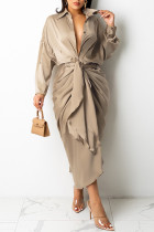 Light Beige Gray Fashion Casual Solid Bandage Turndown Collar Long Sleeve Dresses