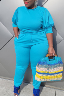 Sky Blue Casual Solid Split Joint O Neck Plus Size Two Pieces