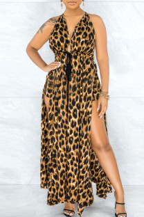 Leopard Print Sexy Print Hollowed Out Split Joint Backless Slit Asymmetrical Sleeveless Two Pieces