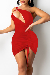 Red Sexy Solid Hollowed Out Split Joint Draw String Fold Asymmetrical Asymmetrical Collar Pencil Skirt Dresses