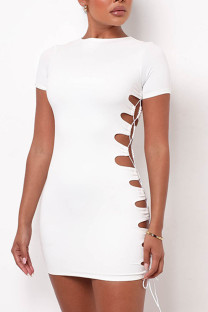 White Sexy Solid Hollowed Out Split Joint Frenulum O Neck Short Sleeve Dress Dresses