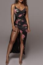Black Sexy Print Split Joint Spaghetti Strap Irregular Dress Dresses