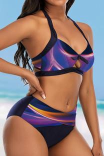 Purple Sexy Print Hollowed Out Split Joint Swimwears
