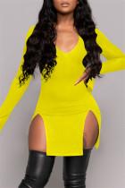 Yellow Fashion Solid Slit V Neck Long Sleeve Dresses