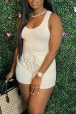 White Casual Solid Split Joint U Neck Sleeveless Two Pieces