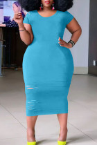 Light Blue Casual Ripped Split Joint O Neck Straight Plus Size Dresses