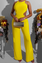 Yellow Sexy Solid Split Joint Frenulum Backless O Neck Loose Jumpsuits