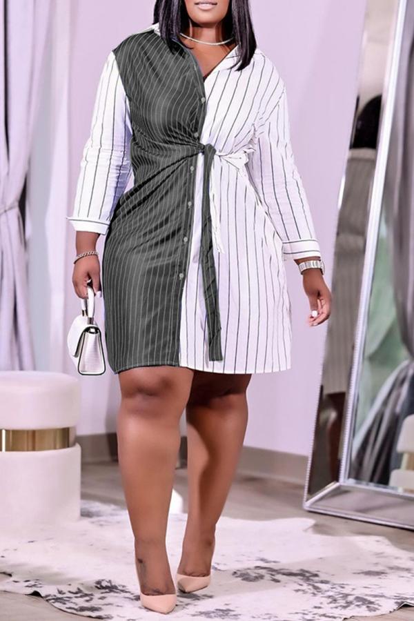 Black Casual Striped Split Joint Turndown Collar Shirt Dress Plus Size Dresses