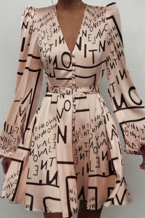 Letter Print Sexy Print Split Joint V Neck Cake Skirt Dresses