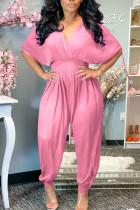 Pink Casual Solid Split Joint Frenulum V Neck Loose Jumpsuits