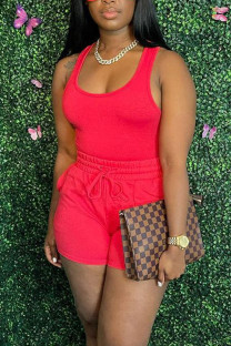 Red Casual Solid Split Joint U Neck Sleeveless Two Pieces