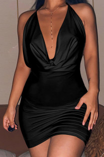 Black Celebrities Solid Split Joint Frenulum Backless Halter Pencil Skirt Dresses