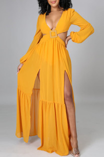 Yellow Sexy Solid Bandage Hollowed Out Split Joint Backless V Neck Straight Dresses