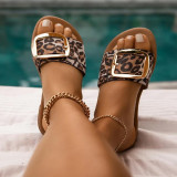 Leopard Print Fashion Casual Split Joint Comfortable Slippers