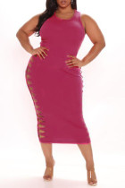 Pink Fashion Casual Plus Size Solid Hollowed Out O Neck Vest Dress