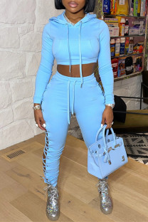 Baby Blue Fashion Casual Solid Bandage Hollowed Out Long Sleeve Two Pieces