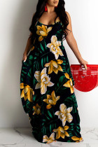 Yellow Sweet Print Split Joint Spaghetti Strap Sling Dress Dresses