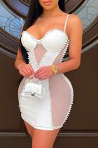 White Sexy Solid Mesh Spaghetti Strap Pencil Skirt Dresses